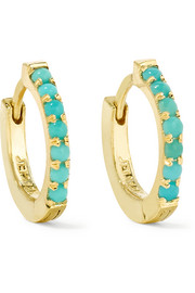 Huggie 18-karat gold turquoise hoop earrings