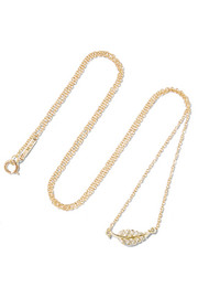 Jennifer Meyer Mini Leaf 18-karat gold diamond necklace