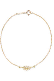 Jennifer Meyer Mini Leaf 18-karat gold diamond bracelet