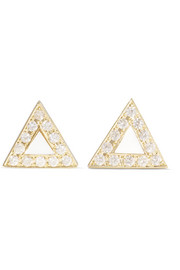18-karat gold, mother-of-pearl and diamond earrings