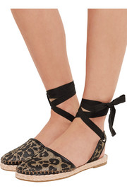 Sophia Webster Juana leather-trimmed jacquard espadrilles