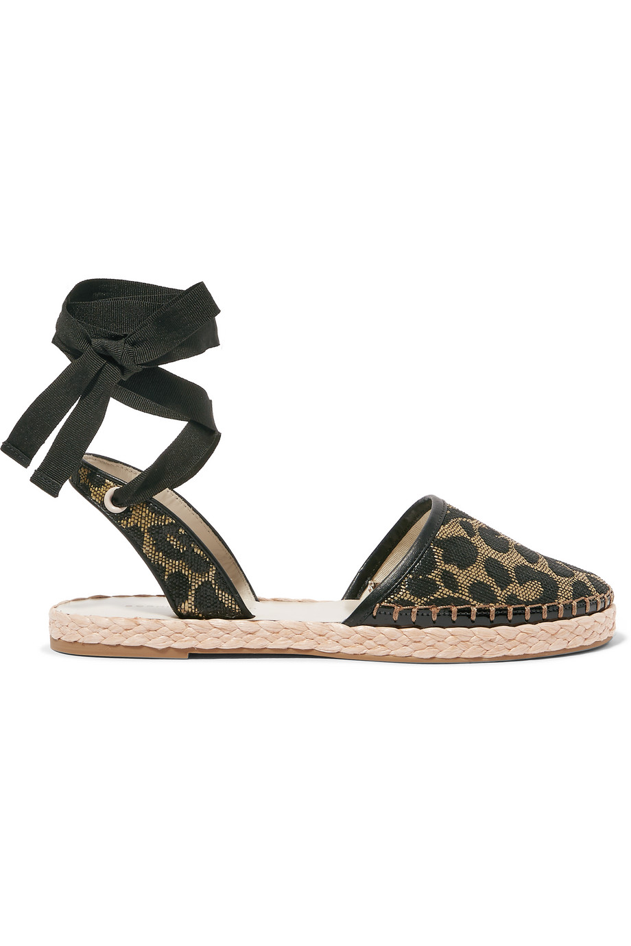 Sophia Webster Juana Leather-Trimmed Jacquard Espadrilles, Leopard Print, Women's US Size: 6, Size: 36.5