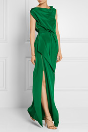 Roland Mouret Goodard gathered silk crepe de chine gown