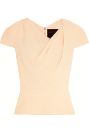 Roland Mouret Hato gathered wool-crepe top