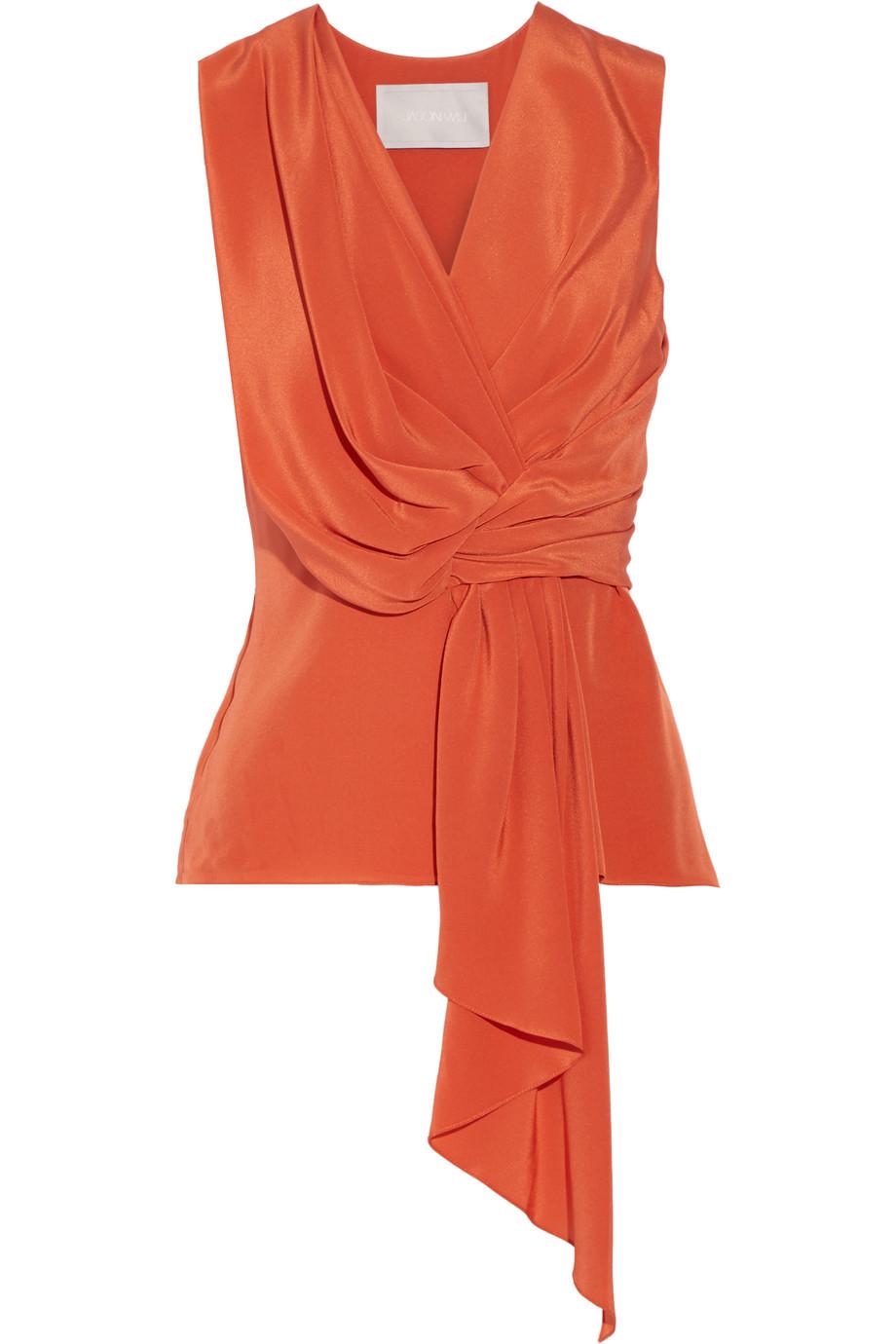 Jason Wu Draped Silk Crepe De Chine Top, Bright Orange, Women's, Size: 6