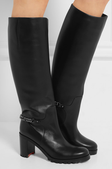 0f7183a2d8c Napeleo 70 chain-trimmed leather knee boots