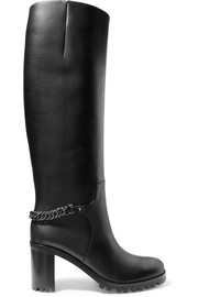 Christian Louboutin Napeleo 70 chain-trimmed leather knee boots