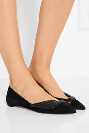 Christian Louboutin Miss Mars suede and leather point-toe flats