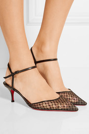 Christian Louboutin Riverina 55 leather-trimmed embroidered mesh pumps