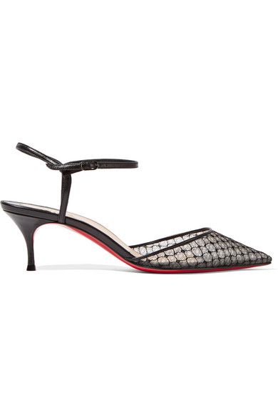 christian louboutin female 188971 christian louboutin riverina 55 leathertrimmed embroidered mesh pumps black