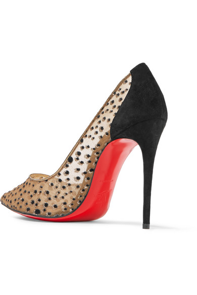 low priced 1a488 b1b3c Follies Lace 100 suede-trimmed flocked glittered mesh pumps