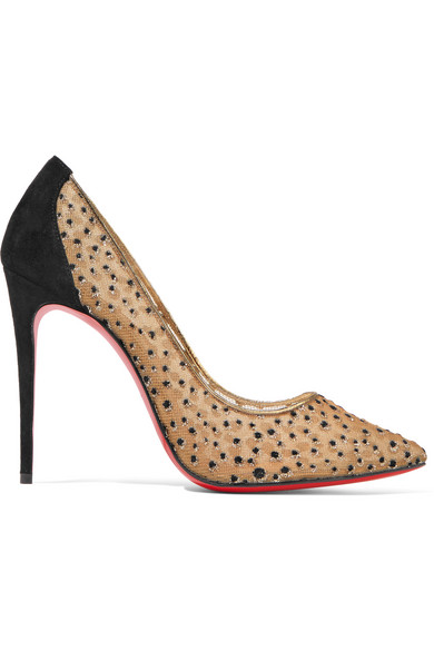 christian louboutin female christian louboutin follies lace 100 suedetrimmed flocked glittered mesh pumps black