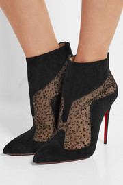 Christian Louboutin Papilloboot 100 embellished mesh and suede ankle boots