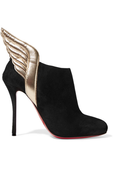 christian louboutin female 188971 christian louboutin mercura metallic leathertrimmed suede ankle boots black