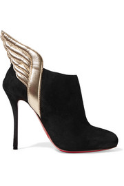 Christian Louboutin Mercura metallic leather-trimmed suede ankle boots