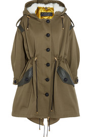 Burberry Oversized hooded shearling and leather-trimmed cotton-twill parka