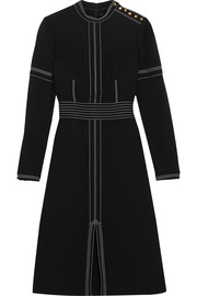 Burberry Prorsum Stitched wool and silk-blend crepe dress