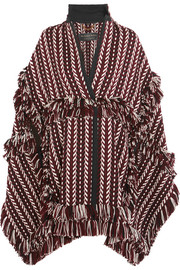 Fringed  herringbone-jacquard wool-blend cape