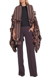 Burberry Fringed  herringbone-jacquard wool-blend cape