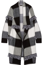 Burberry Prorsum Fringed checked wool and cashmere-blend cardigan