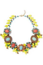Copacabana gold-plated, crystal and enamel necklace