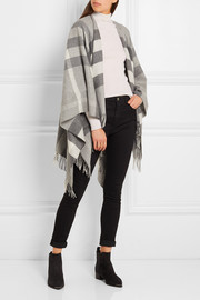 Burberry London checked cashmere and merino wool-blend wrap