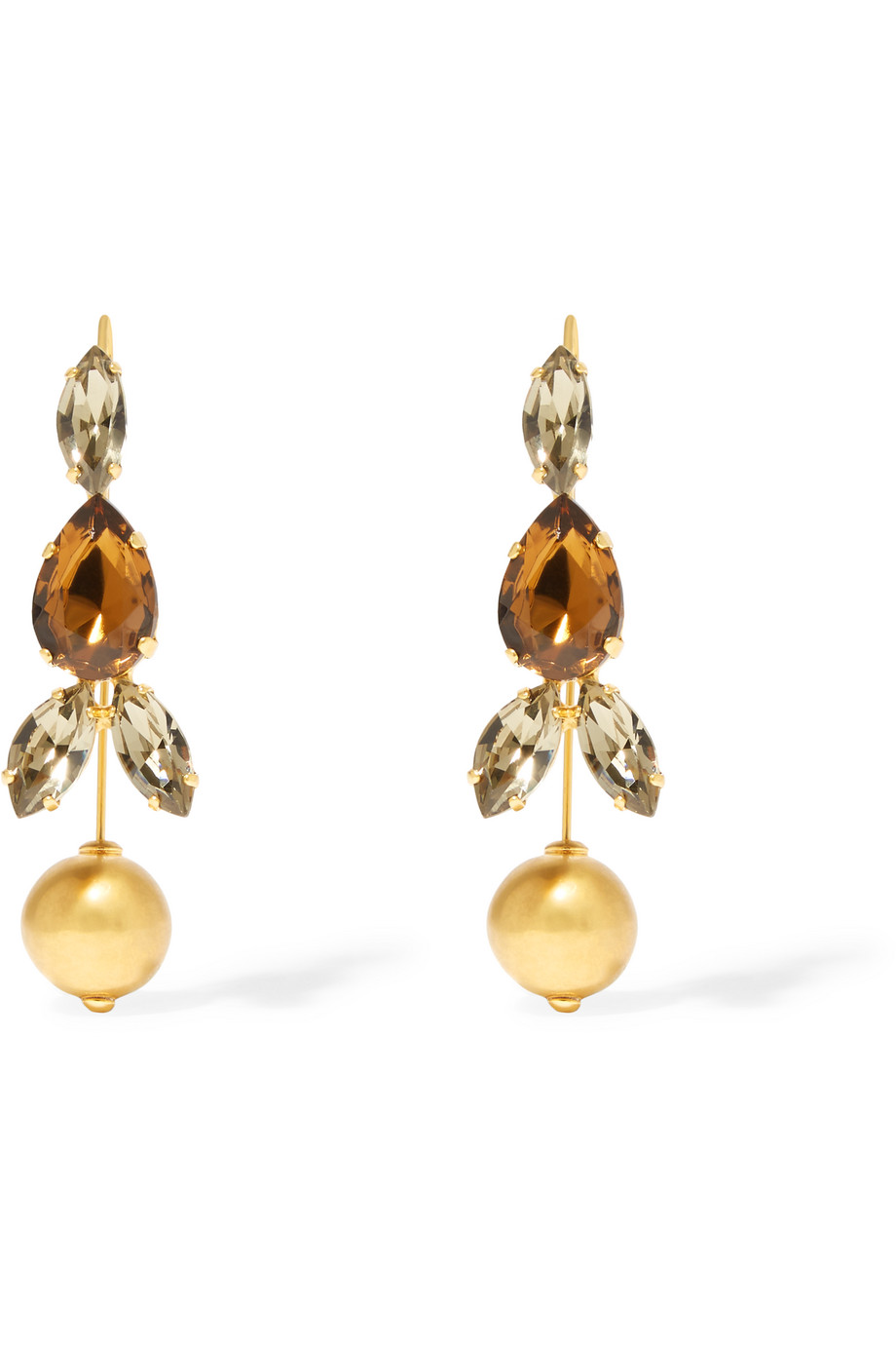 Marni Gold-Plated Crystal Earrings, Gold/Metallic, Women's