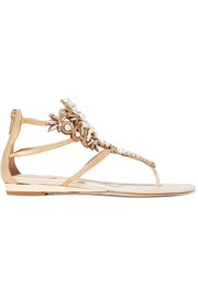 Faux pearl and crystal-embellished leather sandals