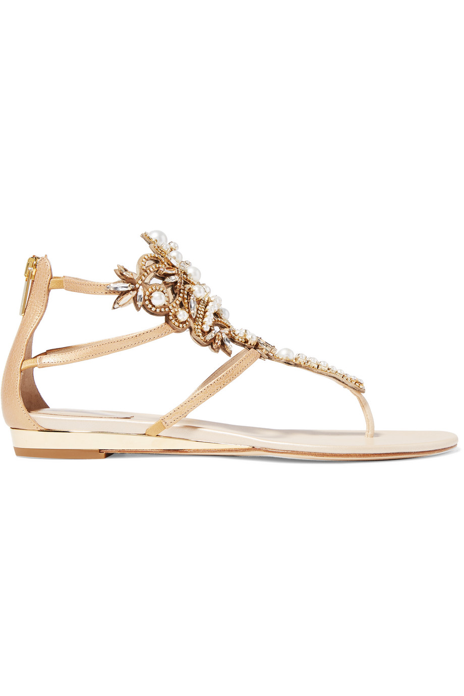 René Caovilla Faux Pearl and Crystal-Embellished Leather Sandals, Size: 38.5