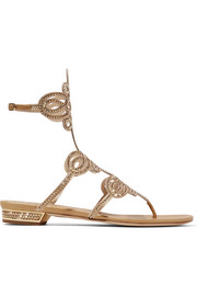 Embellished leather and satin sandals