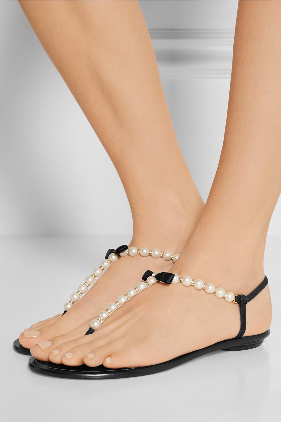 René Caovilla Embellished leather sandals