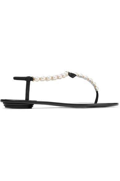 René Caovilla Verzierte Sandalen aus Leder