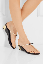 René Caovilla Embellished leather wedge sandals