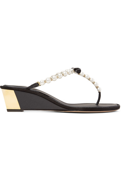 rene caovilla female 188971 rene caovilla embellished leather wedge sandals black