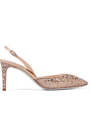 Leather-trimmed embellished lace slingback pumps