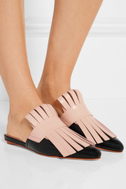Marni Fringed two-tone leather slippers