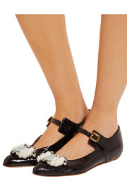 Marni Embellished glossed-ayers ballet flats