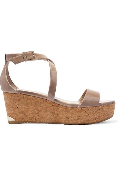jimmy choo female jimmy choo portia patentleather wedge sandals beige