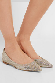 Jimmy Choo Romy glittered canvas point-toe flats