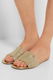 Jimmy Choo Nanda glittered canvas slides
