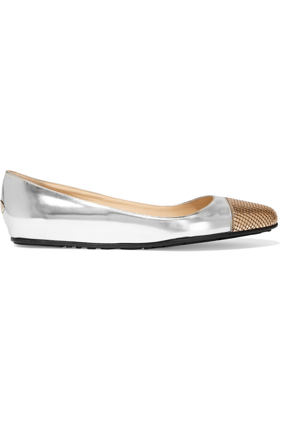 Jimmy Choo Waine Embellished Metallic Leather Ballet Flats, Silver/Bronze, Women's US Size: 8.5, Size: 39