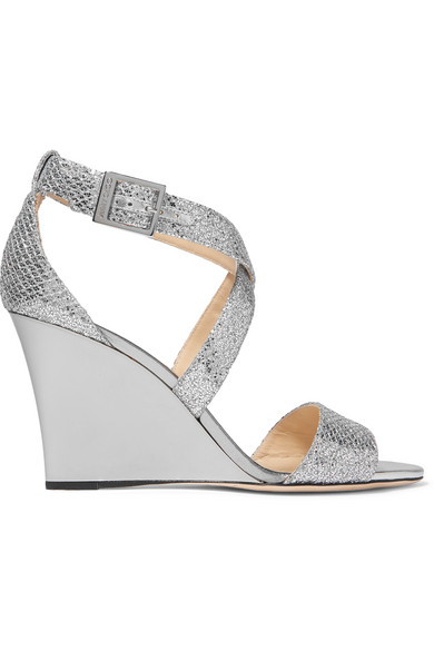 jimmy choo female 45900 jimmy choo fearne glittered leather wedge sandals silver