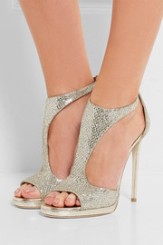 Jimmy Choo Lana glittered twill sandals