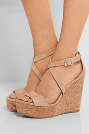 Jimmy Choo Portia patent-leather wedge sandals
