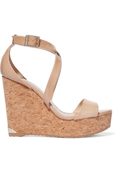 jimmy choo female 186518 jimmy choo portia patentleather wedge sandals beige