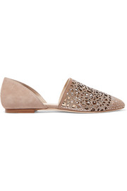 Globe crystal-embellished cutout suede flats
