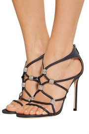 Jimmy Choo Memento Tetrus Swarovski crystal-embellished leather sandals