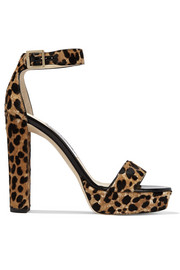Jimmy Choo Holly leopard-print calf hair platform sandals