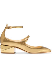 Jimmy Choo Wilbur metallic glossed-leather pumps