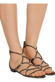 Jimmy Choo Memento Talla crystal-embellished lizard-effect leather sandals